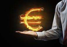 Euro waluty pożarniczy symbol Zdjęcia Royalty Free