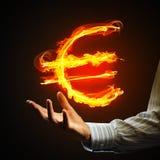 Euro waluty pożarniczy symbol Obrazy Royalty Free