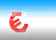 Euro in water Royalty Free Stock Images