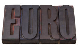 Euro word in letterpress type Royalty Free Stock Images