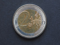 2 euro & x28; EUR& x29; moneta Fotografie Stock