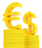 Euro y dólar stock de ilustración