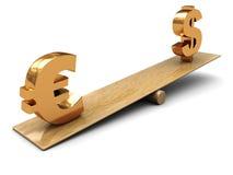 Euro y dólar ilustración del vector