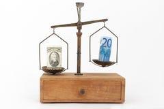 Euro y dólar de EE. UU. en una escala Imágenes de archivo libres de regalías