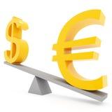 Euro y dólar del balance libre illustration