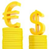 Euro y dólar del diagrama ilustración del vector