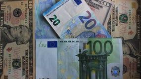 Euro y dólares imagen de archivo libre de regalías