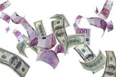 Euro y dólar Imágenes de archivo libres de regalías