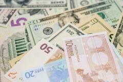 Euro y dólares Fotos de archivo libres de regalías