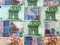 Euro y el tenge del Kazakh, fondo Foto de archivo