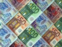 Euro y el tenge del Kazakh, fondo Fotos de archivo