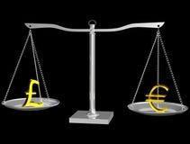 Euro y libra en balance stock de ilustración
