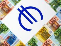 Euro y muestra del dinero Fotografía de archivo libre de regalías