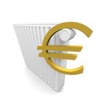 Euro y radiador Imágenes de archivo libres de regalías