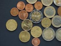 Euro y x28; EUR& x29; monedas Foto de archivo libre de regalías