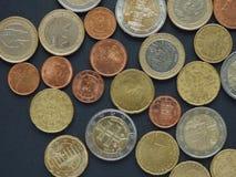 Euro y x28; EUR& x29; monedas Fotos de archivo