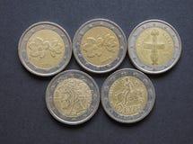 Euro y x28; EUR& x29; monedas, moneda de la unión europea y x28; EU& x29; Fotos de archivo