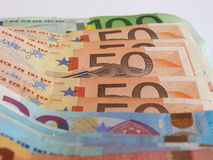 Euro y x28; EUR& x29; notas, unión europea y x28; EU& x29; Fotos de archivo