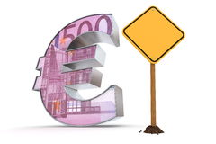Euro with Yellow Warning Sign - 500 Euros Texture Stock Photos