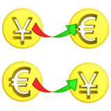 Euro and yen coin exchange  Royalty Free Stock Photos