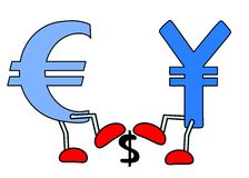Euro Yen crushing Dollar Stock Images