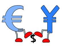 Euro Yen crushing Dollar. An illustration of dollar, yen and euro Stock Images