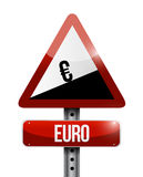 Euro yen currency price falling warning sign Stock Photos