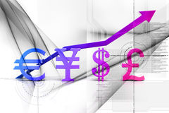 Euro yen dollar and pound Stock Photography