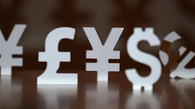 Euro, yen and dollar symbols Stock Images