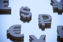Euro, yen and dollar symbols Royalty Free Stock Image