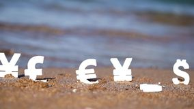 Euro, yen and dollar symbols on the sand. Royalty Free Stock Photos