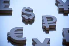 Euro, Yen en dollarsymbolen Royalty-vrije Stock Afbeelding