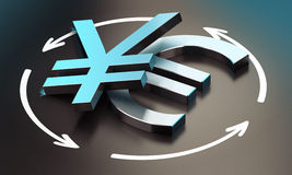 Euro and Yen Symbol. EUR JPY Pair Stock Image