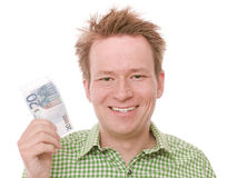 20 euro. Young happy smiling man holding a twenty euro banknote - isolated on white and retouched Stock Photos