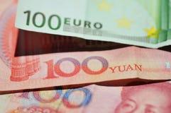euro yuan Arkivfoton