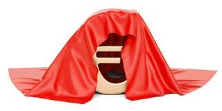 Euro zakrywający czerwony płótno, 3D rendering ilustracja wektor