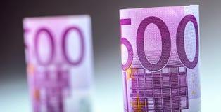 euro zauważa odbicie Pięćset euro banknotów fotografia tonująca Fotografia Royalty Free