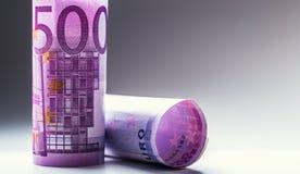 euro zauważa odbicie Pięćset euro banknotów fotografia tonująca Obraz Royalty Free