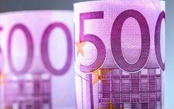 euro zauważa odbicie Pięćset euro banknotów fotografia tonująca Obrazy Royalty Free
