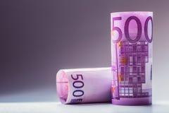 euro zauważa odbicie Pięćset euro banknotów fotografia tonująca Fotografia Stock