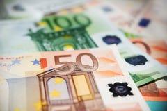 50 euro zauważają zamknięty up Zdjęcia Royalty Free