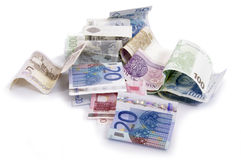 Euro and zlot banknotes Royalty Free Stock Images