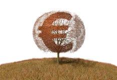 Euro znak na drzewie royalty ilustracja