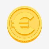 Euro znak na złocistej monecie Zdjęcia Royalty Free