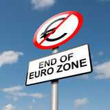 Euro zone concept. Illustration depicting a road traffic sign with a euro zone end concept. Blue sky background Stock Photos
