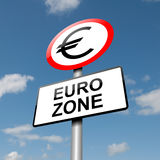 Euro zone concept. Illustration depicting a road traffic sign with a euro zone concept. Blue sky background Royalty Free Stock Image