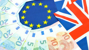 Euro zone concept. With currency end EU flag Stock Images