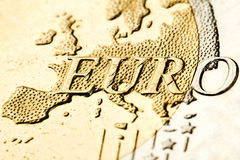 Euro zone map on the coin. Macro of euro zone map from the coin Royalty Free Stock Image