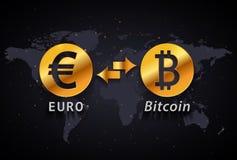 Euro zur infographic Schablone Bitcoin-Geldumtauschs auf Weltkartehintergrund Lizenzfreies Stockbild
