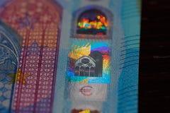 Euro zwanzig holgram Abschluss oben Lizenzfreies Stockfoto